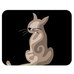 Brown abstract cat Double Sided Flano Blanket (Medium)