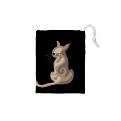 Brown abstract cat Drawstring Pouches (XS)