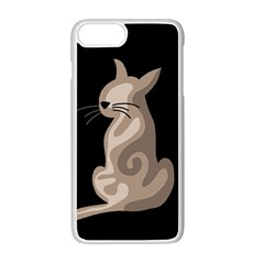 Brown Abstract Cat Apple Iphone 7 Plus White Seamless Case