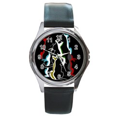 Street cats Round Metal Watch