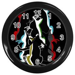Street cats Wall Clocks (Black)