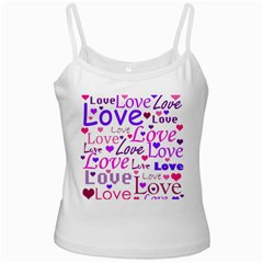 Love pattern White Spaghetti Tank