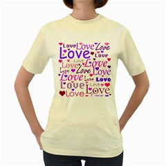 Love pattern Women s Yellow T-Shirt