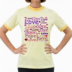 Love pattern Women s Fitted Ringer T-Shirts