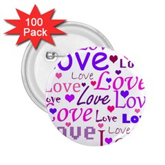 Love pattern 2.25  Buttons (100 pack)