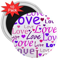 Love pattern 3  Magnets (10 pack)