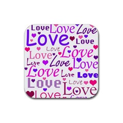 Love Pattern Rubber Square Coaster (4 Pack)