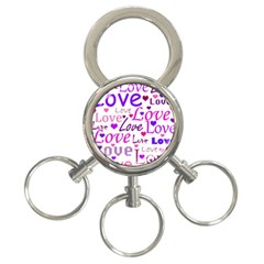 Love pattern 3-Ring Key Chains