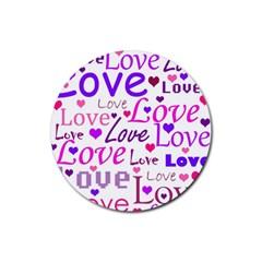 Love pattern Rubber Coaster (Round)