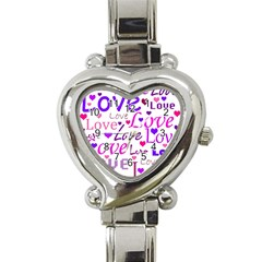 Love pattern Heart Italian Charm Watch