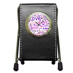 Love pattern Pen Holder Desk Clocks