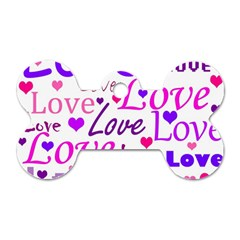 Love pattern Dog Tag Bone (Two Sides)