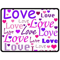 Love pattern Fleece Blanket (Large)