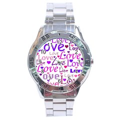 Love pattern Stainless Steel Analogue Watch