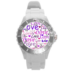 Love pattern Round Plastic Sport Watch (L)