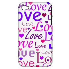 Love pattern Apple iPhone 4/4S Hardshell Case (PC+Silicone)
