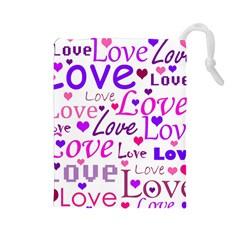 Love pattern Drawstring Pouches (Large)