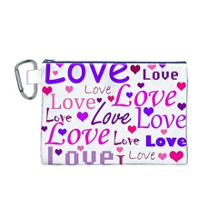 Love pattern Canvas Cosmetic Bag (M)