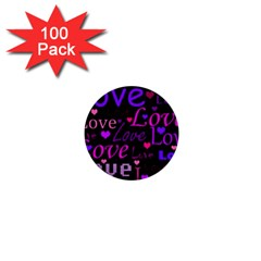 Love pattern 2 1  Mini Buttons (100 pack)