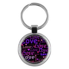 Love pattern 2 Key Chains (Round)