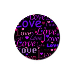 Love pattern 2 Rubber Round Coaster (4 pack)