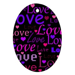 Love pattern 2 Oval Ornament (Two Sides)