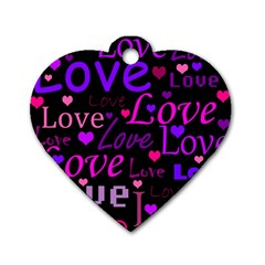 Love pattern 2 Dog Tag Heart (Two Sides)