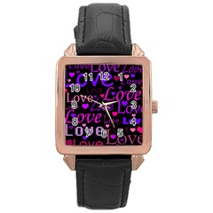 Love pattern 2 Rose Gold Leather Watch