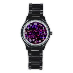 Love pattern 2 Stainless Steel Round Watch