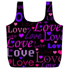 Love pattern 2 Full Print Recycle Bags (L)