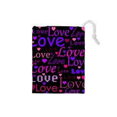 Love pattern 2 Drawstring Pouches (Small)