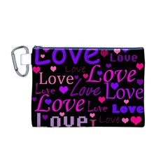 Love pattern 2 Canvas Cosmetic Bag (M)