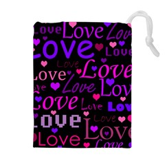 Love pattern 2 Drawstring Pouches (Extra Large)