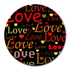 Love pattern 3 Round Mousepads