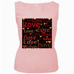 Love pattern 3 Women s Pink Tank Top