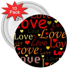 Love pattern 3 3  Buttons (10 pack)