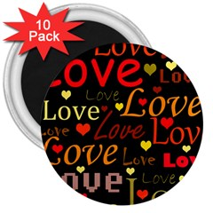 Love pattern 3 3  Magnets (10 pack)