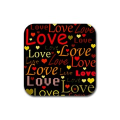 Love pattern 3 Rubber Square Coaster (4 pack)