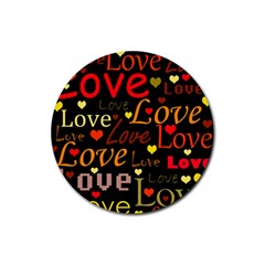 Love pattern 3 Rubber Round Coaster (4 pack)