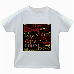 Love pattern 3 Kids White T-Shirts
