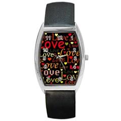 Love pattern 3 Barrel Style Metal Watch
