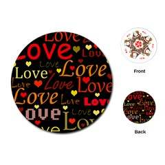 Love pattern 3 Playing Cards (Round)