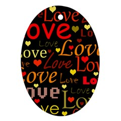 Love pattern 3 Oval Ornament (Two Sides)