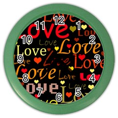 Love pattern 3 Color Wall Clocks