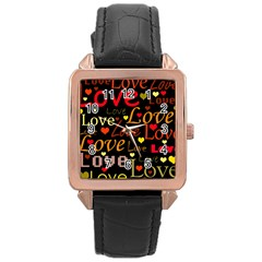 Love pattern 3 Rose Gold Leather Watch