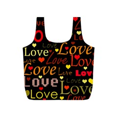 Love pattern 3 Full Print Recycle Bags (S)