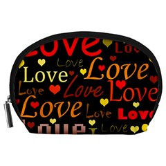 Love pattern 3 Accessory Pouches (Large)