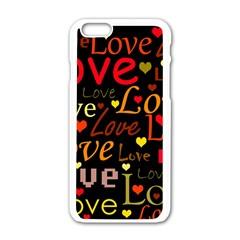 Love pattern 3 Apple iPhone 6/6S White Enamel Case