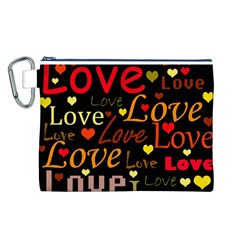 Love pattern 3 Canvas Cosmetic Bag (L)