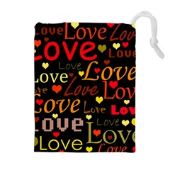 Love pattern 3 Drawstring Pouches (Extra Large)